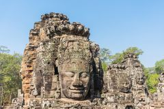Smile face stone at bayon temple in angkor thom siem reap cambodia Royalty Free Stock Photography