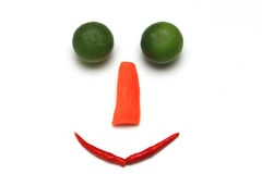 Smile face with vegetable on white background. Smile face with vegetable isolated on white background stock photo