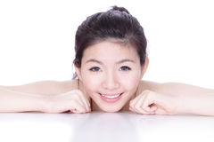 Smile face of a woman with health skincare Stock Image