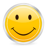 Smile face yellow circle icon Royalty Free Stock Images