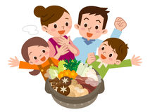 Smile of family rejoice in Casserole Royalty Free Stock Photo