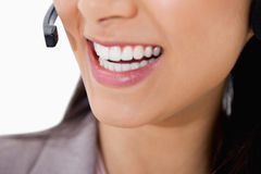 Smile of female call center agent Royalty Free Stock Photo