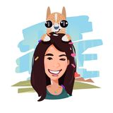 Smile female with her dog on head. pet and owner concept - vector illustration. Smile female with her dog on head. pet and owner concept - vector Stock Images