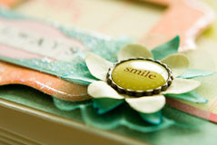 Smile flower button Stock Images