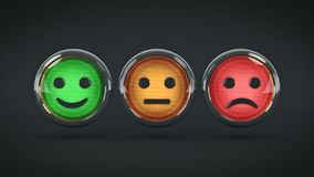 Smile / frown buttons for website. 3d rendering.  royalty free illustration