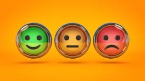 Smile / frown buttons for website. 3d rendering.  stock illustration