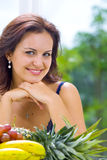 Smile and fruits Stock Photography