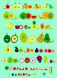 Smile Fruits. Cute Smile Cartoon of 39 Various Fruits Stock Photos