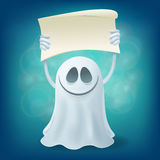 Smile ghost with banner. Halloween party design element Stock Image