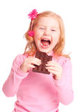 Smile girl with chocolate Royalty Free Stock Images