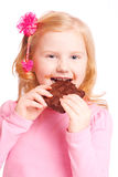 Smile girl with chocolate Stock Photography