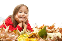 Smile girl without colored autunm leaf Stock Images