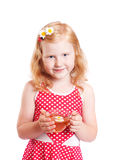 Smile girl with cup of tea Stock Image