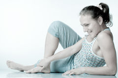 Smile girl on the fitness Stock Photography