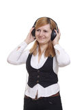 The smile girl in headphones Royalty Free Stock Photography