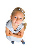 Smile girl with long blonde hair hand knot. Isolated on white Stock Photo