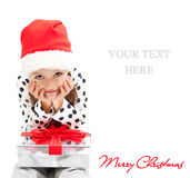 Smile girl with present Royalty Free Stock Photo