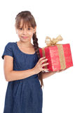 Smile girl with red giftbox Royalty Free Stock Photography