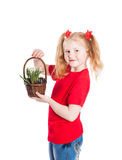 Smile girl with snowdrops isolated on white Stock Photo