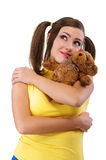Smile girl-teenager with teddy bear Royalty Free Stock Photo