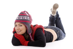 Smile girl  in winter cap and mittens Stock Image