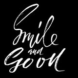 Smile and go on. Hand drawn lettering. Vector typography design. Handwritten modern brush inscription. Royalty Free Stock Photos