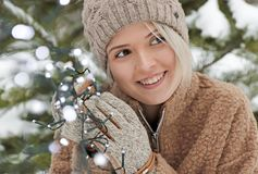 Smile good mood in winter. royalty free stock photography
