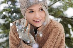 Smile good mood in winter. stock image