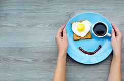 Smile for a good morning. Smile for sweet breakfast with love Stock Image