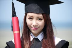 Smile graduate student woman Stock Photo