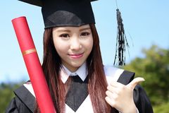 Smile graduate student woman Royalty Free Stock Image