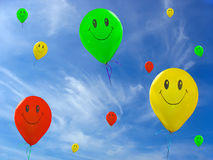 Smile green, red yellow balloons Stock Photos