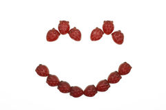 Smile of gummi red strawberry jelly Stock Photo