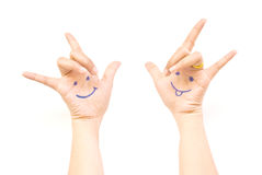 Smile on the hand for happy concept. Royalty Free Stock Images