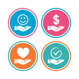 Smile and hand icon. Heart, Tick symbol. Smile and hand icon. Heart and Tick or Check symbol. Palm holds Dollar currency sign. Colored circle buttons. Vector Stock Image