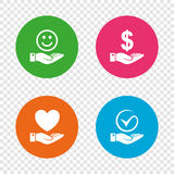 Smile and hand icon. Heart, Tick symbol. Smile and hand icon. Heart and Tick or Check symbol. Palm holds Dollar currency sign. Round buttons on transparent Stock Image
