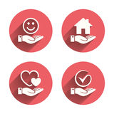 Smile and hand icon. Heart, Tick symbol Stock Images