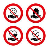 Smile and hand icon. Heart, Tick symbol. No, Ban or Stop signs. Smile and hand icon. Heart and Tick or Check symbol. Palm holds house building sign. Prohibition Royalty Free Stock Image