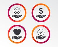 Smile and hand icon. Heart, Tick symbol. Smile and hand icon. Heart and Tick or Check symbol. Palm holds Dollar currency sign. Infographic design buttons Royalty Free Stock Photos