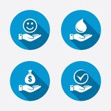 Smile and hand icon. Water drop, Tick symbol. Smile and hand icon. Water drop and Tick or Check symbol. Palm holds Dollar money bag. Circle concept web buttons Royalty Free Stock Images