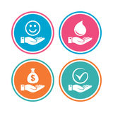 Smile and hand icon. Water drop, Tick symbol. Smile and hand icon. Water drop and Tick or Check symbol. Palm holds Dollar money bag. Colored circle buttons Royalty Free Stock Photos