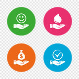 Smile and hand icon. Water drop, Tick symbol. Smile and hand icon. Water drop and Tick or Check symbol. Palm holds Dollar money bag. Round buttons on Royalty Free Stock Photo