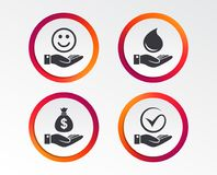 Smile and hand icon. Water drop, Tick symbol. Smile and hand icon. Water drop and Tick or Check symbol. Palm holds Dollar money bag. Infographic design buttons Royalty Free Stock Images