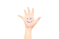 Smile on hand isolated on the white. Royalty Free Stock Photo