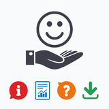 Smile and hand sign. Palm hold happy face symbol Royalty Free Stock Photo