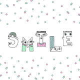 Smile handwritten lettering illustration with confetti. Stock Photo