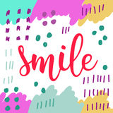 Smile. Handwritten lettering isolated on white. Stock Images
