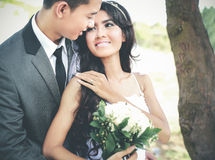Smile of happiness from newlywed couple Stock Photo