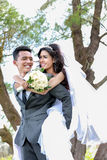 Smile of happiness from romantic newlywed couple Stock Photo