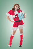 Smile happy Asian Christmas girl hold gift box Royalty Free Stock Images
